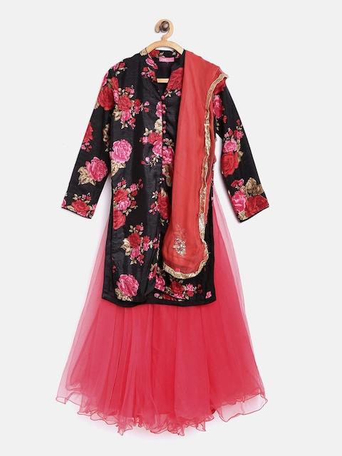 Biba Girls Coral Red & Black Printed Lehenga Choli with Dupatta