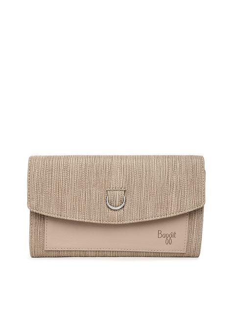 Baggit Women Beige Textured Two Fold Wallet  available at myntra for Rs.1150