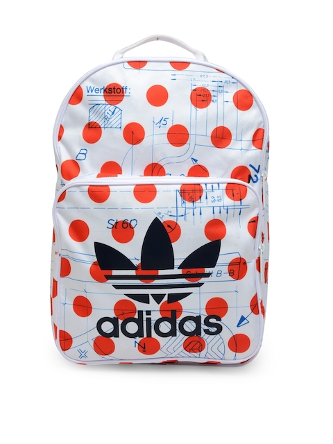 Adidas Originals Unisex White & Orange CLAS DOTS Printed Backpack  available at myntra for Rs.2599