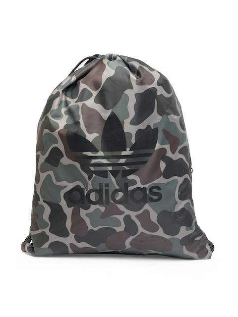 Adidas Originals Unisex Olive Green Gymsack Camouflage Print Backpack  available at myntra for Rs.1599