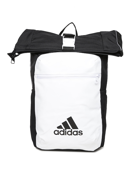 Adidas Unisex Black & Off-White Colourblocked Backpack