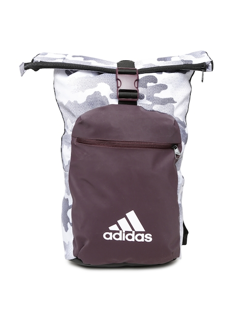 Adidas Unisex Off-White & Burgundy Graphic Backpack