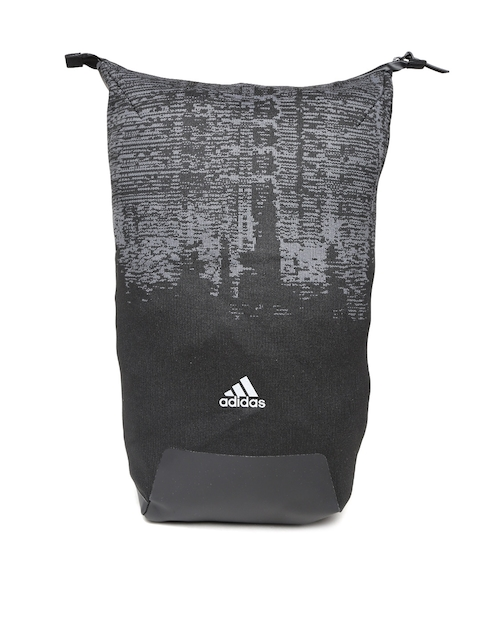 Adidas Unisex Black & Grey Icon Knitted Printed Backpack
