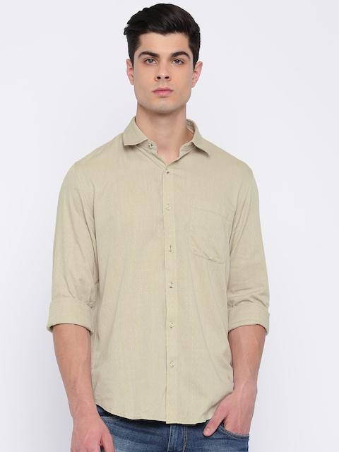 Peter England Casuals Men Beige Slim Fit Self Design Casual Shirt
