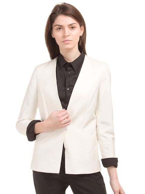 Arrow Woman Off-white Self Design Single-Breasted Woolen Blazer