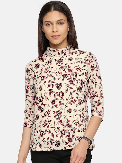 Arrow Woman Women Beige Printed Top