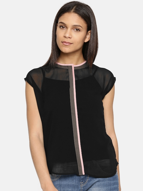 Arrow Woman Women Black Solid Top