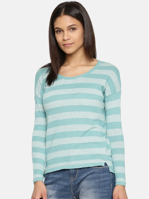 Arrow Woman Women Blue & Off-White Striped High-Low Top