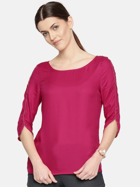 Arrow Woman Women Magenta Solid Top