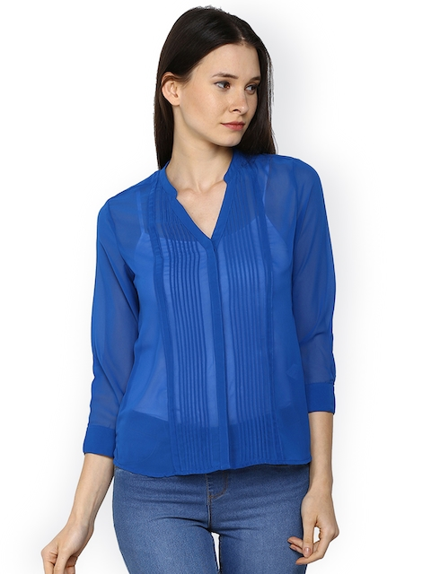 Arrow Woman Women Blue Solid Shirt Style Top