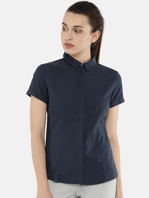 Arrow Women Blue Regular Fit Self-Design Casual Shirt