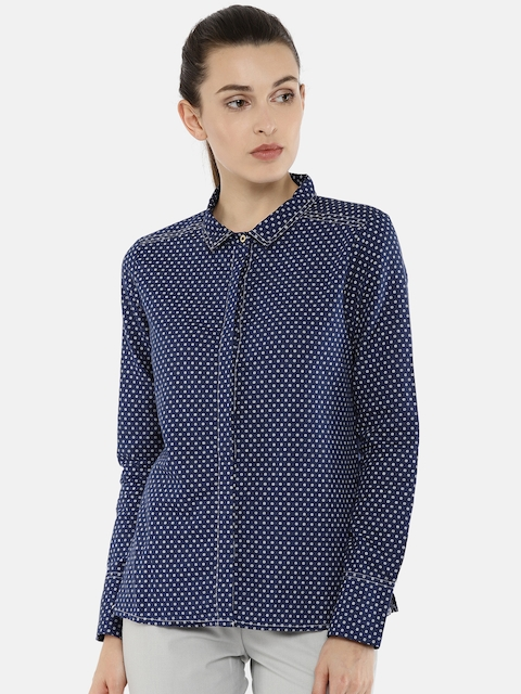 Arrow Woman Women Blue Regular Fit Printed Casual Shirt