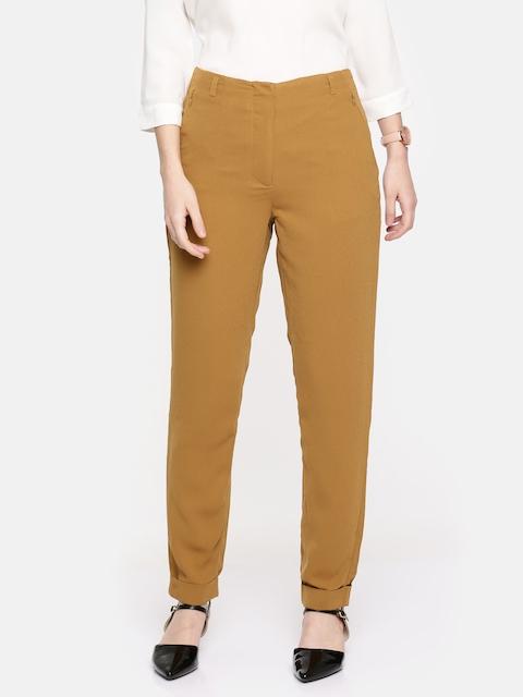 Arrow Woman Women Mustard Brown Relaxed Regular Fit Solid Regular Trousers