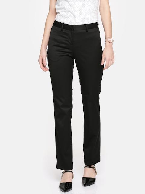 Arrow Woman Women Black Relaxed Solid Regular Trousers