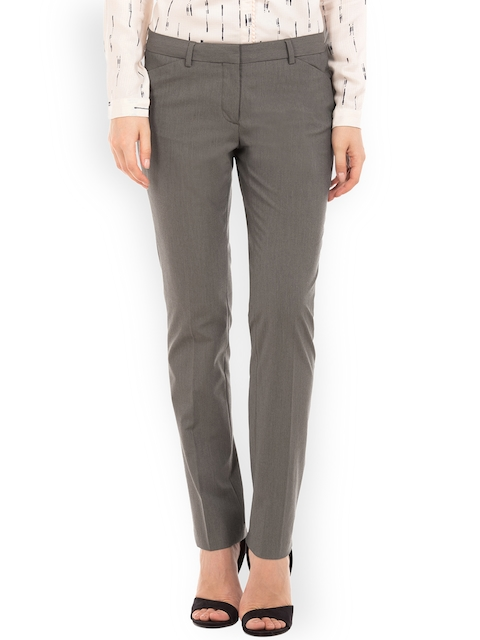 Arrow Woman Olive Brown Regular Fit Solid Regular Trousers