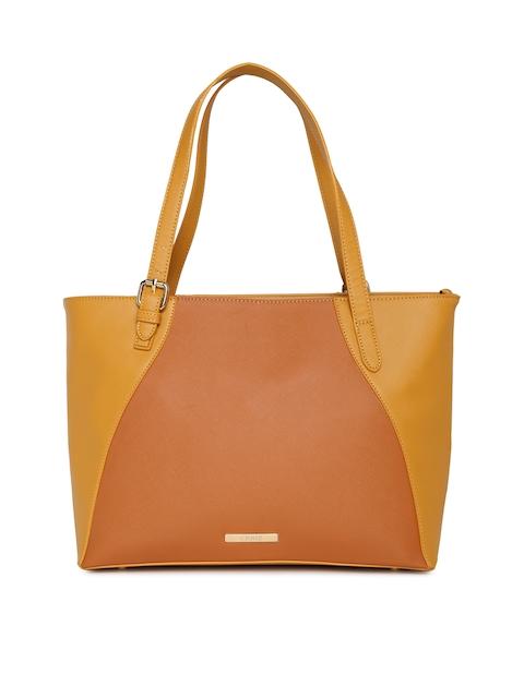 CERIZ Tan Brown & Orange Colourblocked Shoulder Bag