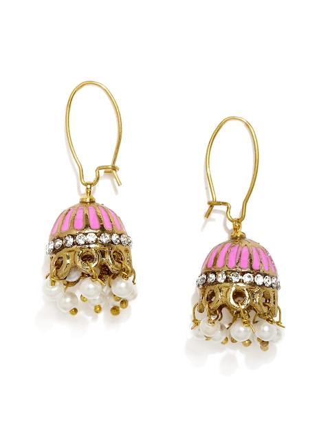 Fida Pink & Gold-Toned Floral Jhumkas  available at myntra for Rs.497