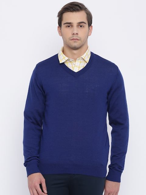 Raymond Men Blue Solid Pullover Sweater