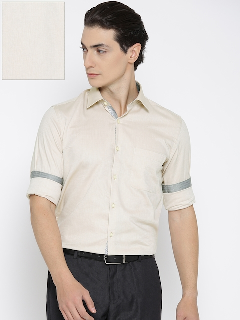 Raymond Men Beige Contemporary Fit Self-Design Formal Shirt
