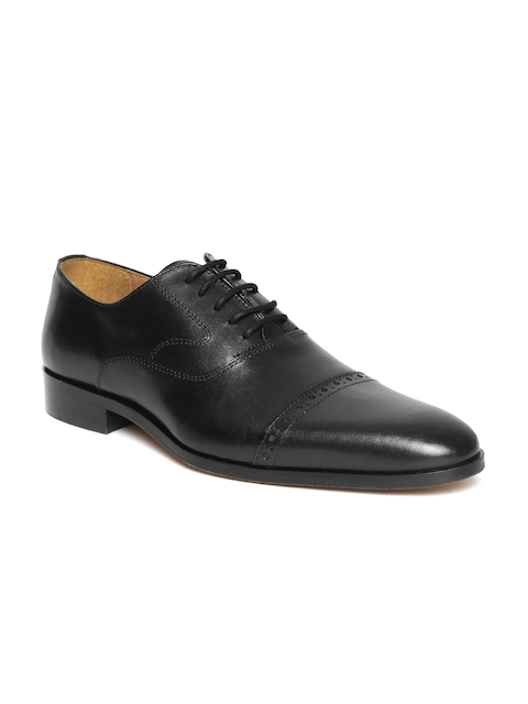HATS OFF ACCESSORIES Men Black Leather Formal Oxfords