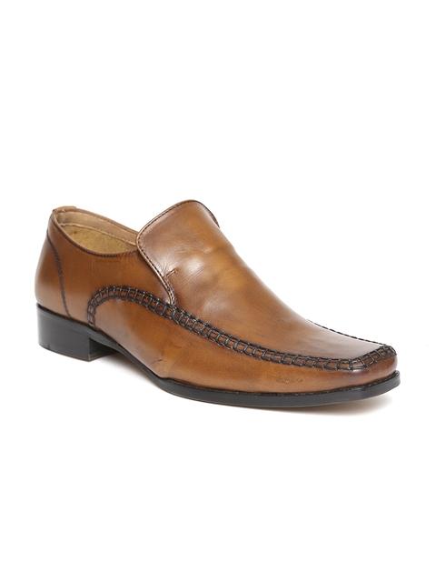 HATS OFF ACCESSORIES Men Tan Brown Leather Semiformal Slip-Ons