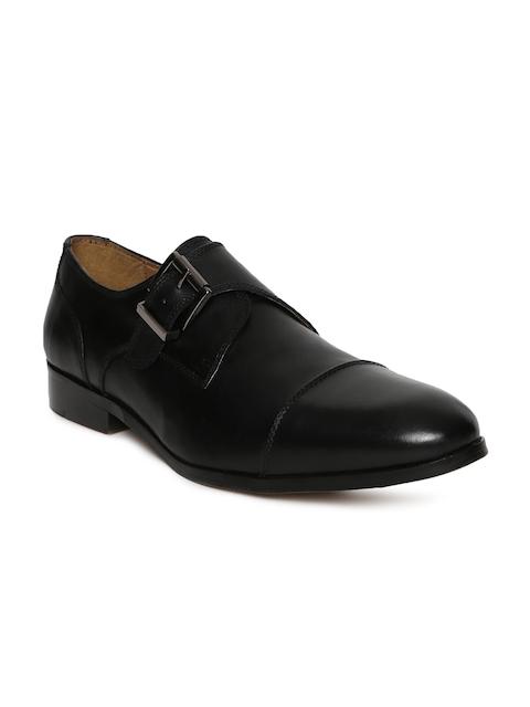 HATS OFF ACCESSORIES Men Black Leather Monk Shoes