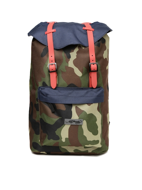 Ed Hardy Unisex Green & Brown Camouflage Print Laptop Backpack  available at myntra for Rs.2199