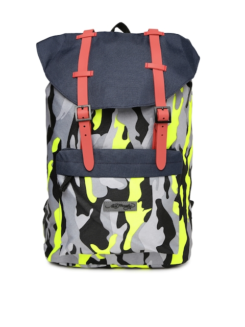 Ed Hardy Unisex Grey & Fluorescent Green Graphic Backpack  available at myntra for Rs.2199