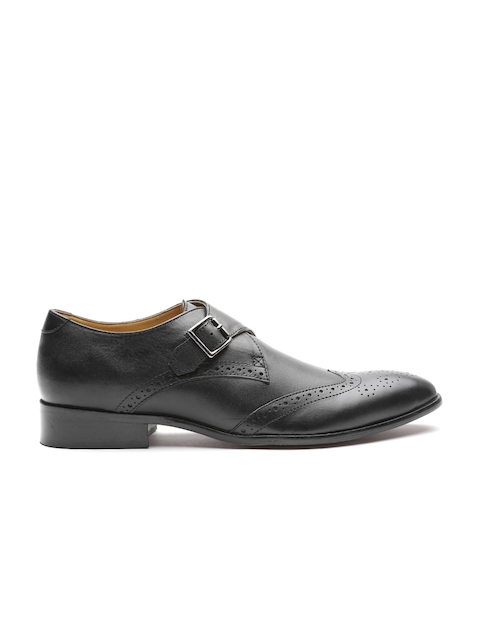 Carlton London Men Black Leather Formal Monks