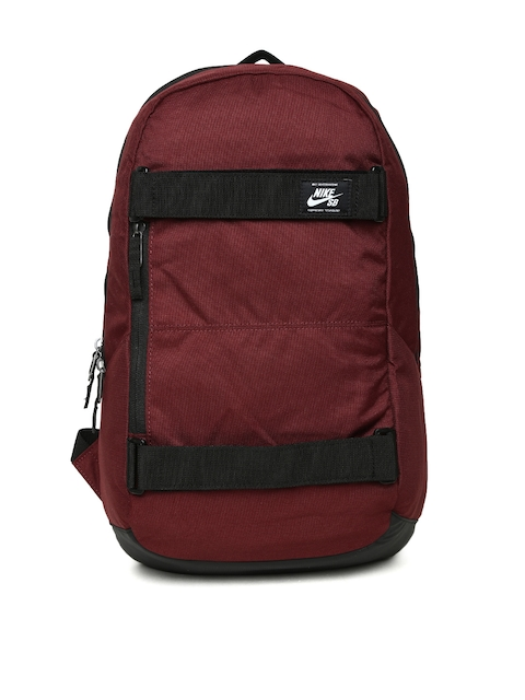 Nike Men Maroon Solid Backpack