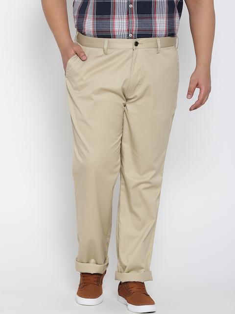 aLL Men Beige Custom Fit Solid Trousers