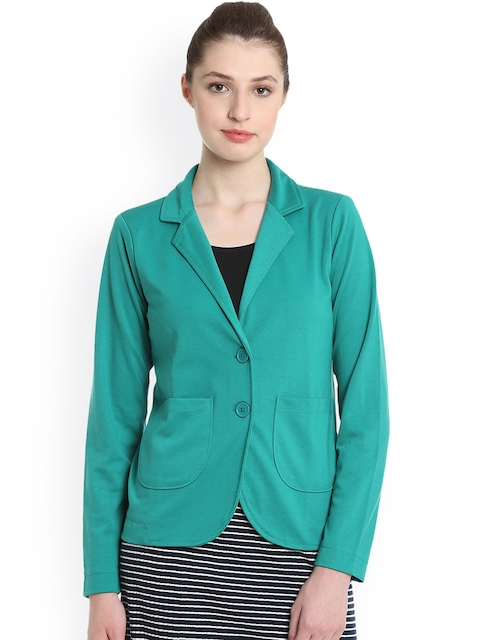 United Colors of Benetton Women Green Solid Tailored Jacket