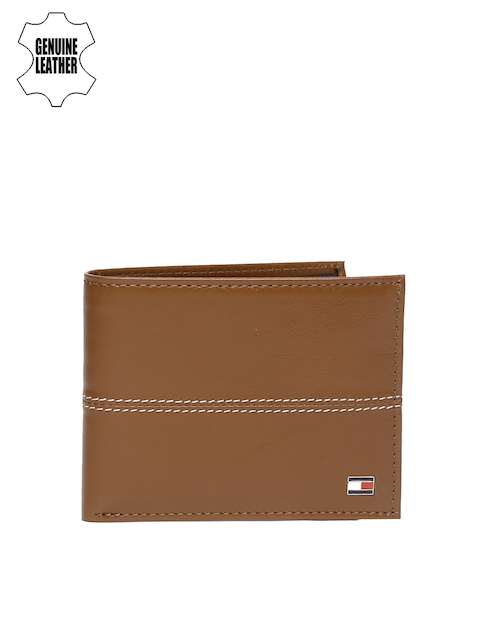 Tommy Hilfiger Men Tan Solid Two Fold Leather Wallet