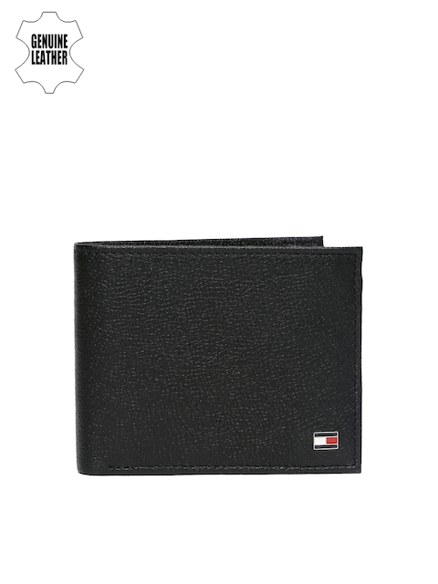 Tommy Hilfiger Men Black Solid Two Fold Leather Wallet