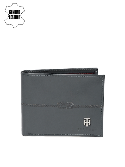 Tommy Hilfiger Men Charcoal Grey Two Fold Leather Wallet