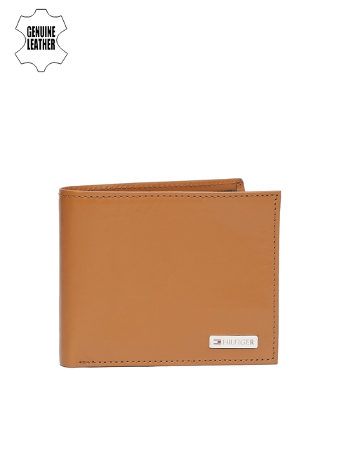 Tommy Hilfiger Men Tan Brown Genuine Leather Two Fold Wallet