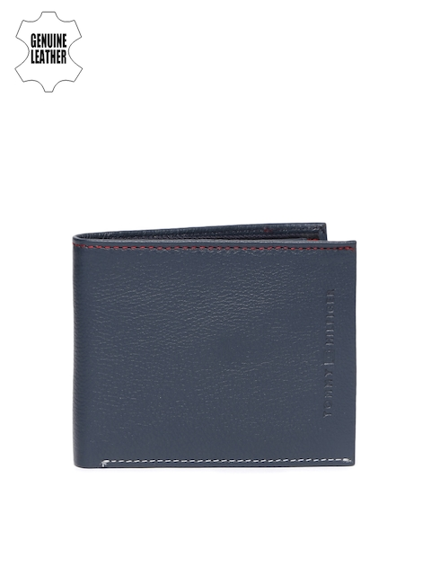 Tommy Hilfiger Men Navy Blue Genuine Leather Two Fold Wallet