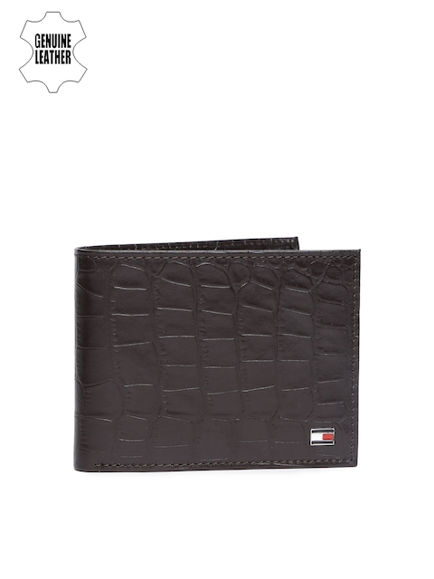 Tommy Hilfiger Men Brown Textured Genuine Leather Two Fold Wallet