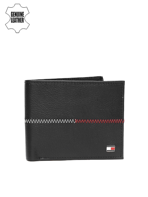 Tommy Hilfiger Men Black Solid Leather Two Fold Wallet