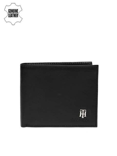 Tommy Hilfiger Men Black Solid Two Fold Wallet
