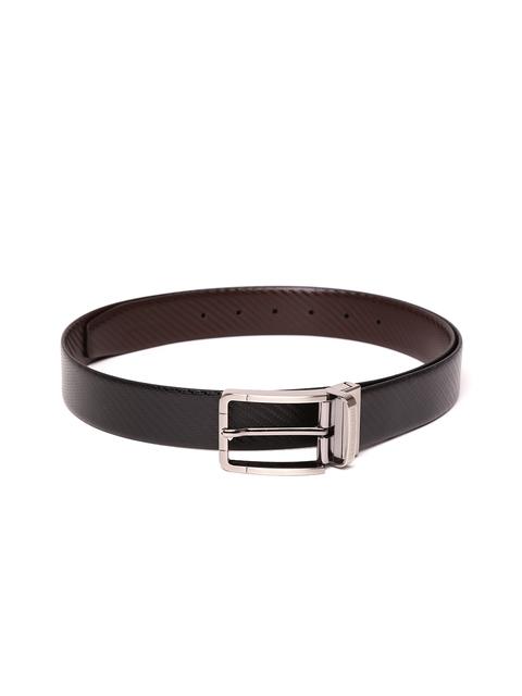 Tommy Hilfiger Men Black & Brown Textured Reversible Belt