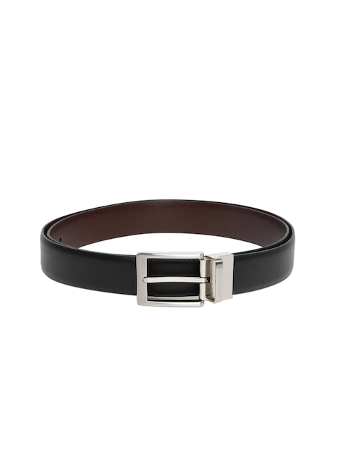 Tommy Hilfiger Men Black & Brown Textured Reversible Belt