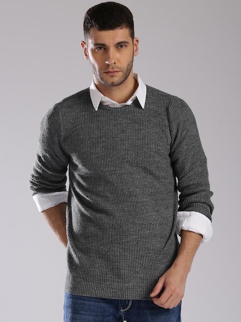 GAS Men Grey Self Design Pullover
