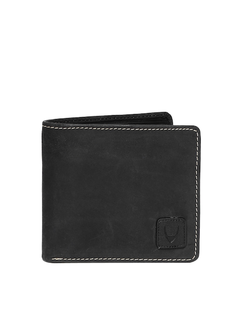 Hidesign Men Black Leather Two Fold Wallet