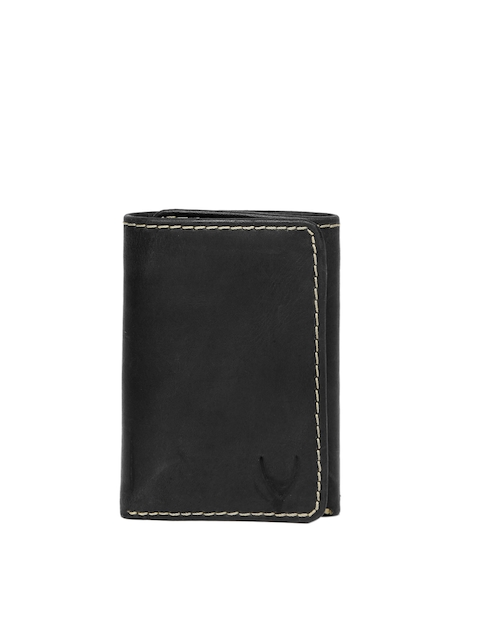 hidesign Men Black Leather Three Fold Wallet  available at myntra for Rs.797