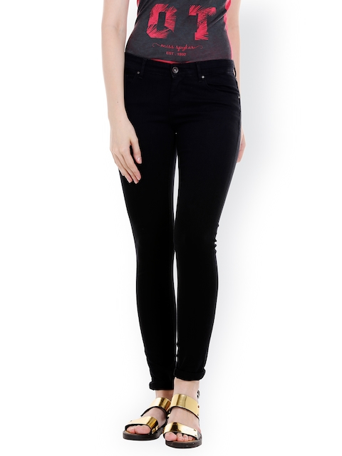 SPYKAR Women Black Skinny Fit Low-Rise Clean Look Jeans