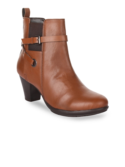Bruno Manetti Women Tan Brown Solid Heeled Boots