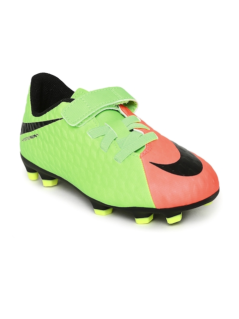 Nike Unisex Fluorescent Green & Coral Pink JR HYPERVENOM PHD III (V) FG Football Shoes