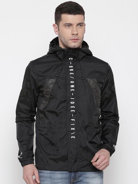 Jack & Jones Men Black Solid Windcheater Hooded Sporty Jacket