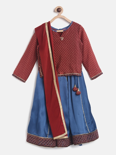 Biba Girls Maroon & Blue Printed Ready to Wear Lehenga & Blouse with Dupatta